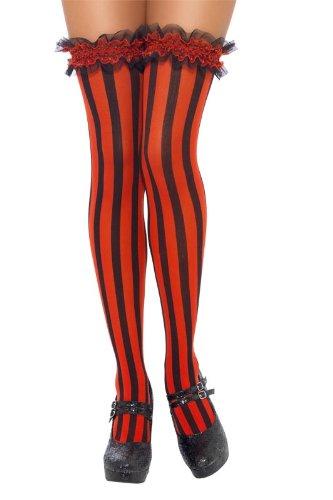 Aptafêtes - AC4206 - Bas rayés avec jarretière -rouge et noir - Taille Unique
