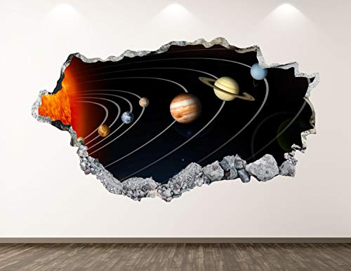 3D Wall Sticker, Removable Wall Mural Decals, Wall Art Decor for Livingroom Bedroom Nursery, Solar System - Planets Space Smashed Wall Decal - 32' at the Longest End