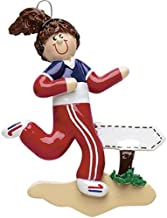 Personalized Jogger Girl Christmas Tree Ornament 2019 - Brunette Runner Red Sweat Suit Training Park Hobby Activity Brown Hair Female Year Amateur Athlete - Free Customization (Female)