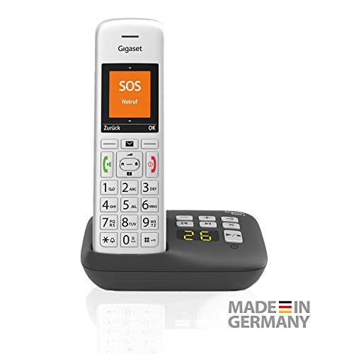 Gigaset E390A Schnurloses Senioren Telefon mit Anrufbeantworter und großen Tasten - SOS-Funktion, einfache Bedienung, extra großes Farbdisplay, silber-schwarz