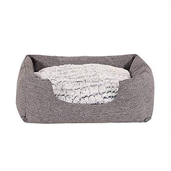 lionto by dibea Lit pour chien coussin réversible panier chiens dimension extérieure (S) 60 x 50 cm Gris