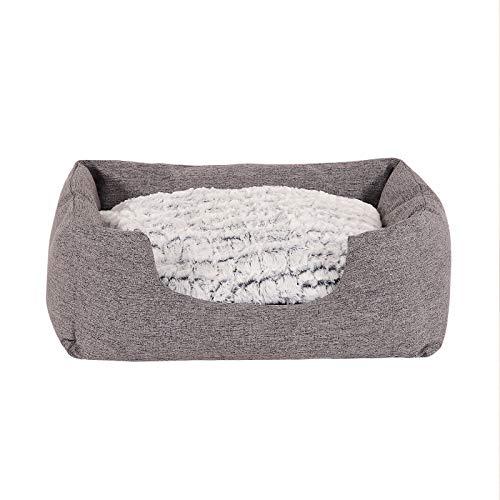 lionto by dibea Cama para perros con cojín reversible tela mezcla cómodo sofá (S) 60x50 cm Gris