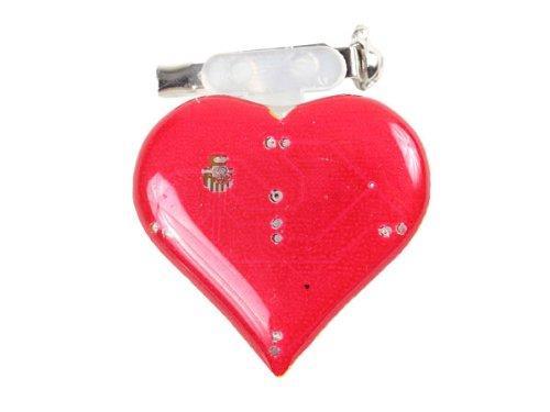 Blinki LED Anstecker Blinky Brosche LED Pin Button viele Motive, wählen:Herz rot 20