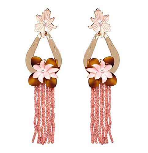 Pendientes de borla de cuentas de arroz con forma de flor exagerada, accesorios, accesorios para orejas europeas y americanas B