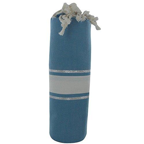 Fouta Badetuch Hart Blau Baumwolle Weiß und Silber Lurex Streifen