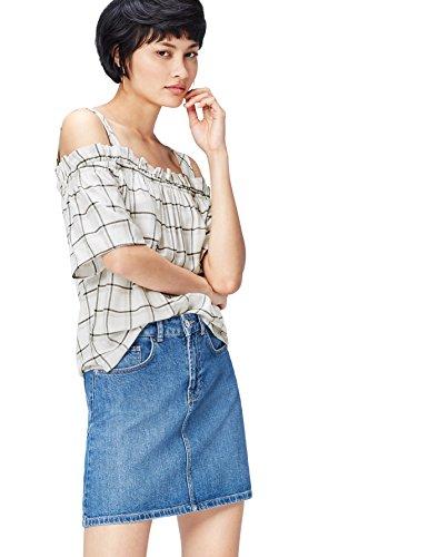 Marca Amazon - find. Blusa de Cuadros estilo Bardot con Tirantes para