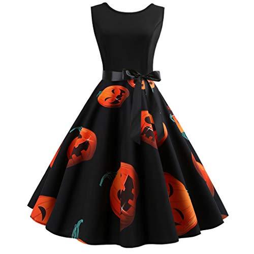 VJGOAL Halloween kostuum dames jurken elegant grote maten retro pompoen print zonder mouwen bow grote slinger mini tutu evenement party jurk voor vrouwen riem