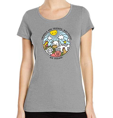 Iprints Animals Are Friends Not Food Vegan Vegetarian Crew Neck Women's T-Shirt