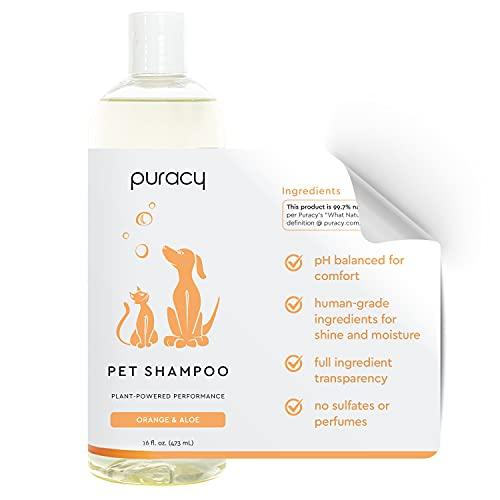 Puracy Pet Shampoo - Natural Dog Shampoo & Cat Shampoo - Aloe & Oatmeal Shampoo for All Household Pets - Moisturizing Dog Shampoo for Shiny Coats & Odor Elimination - Itch Relief Pet Shampoo | 16fl.oz.