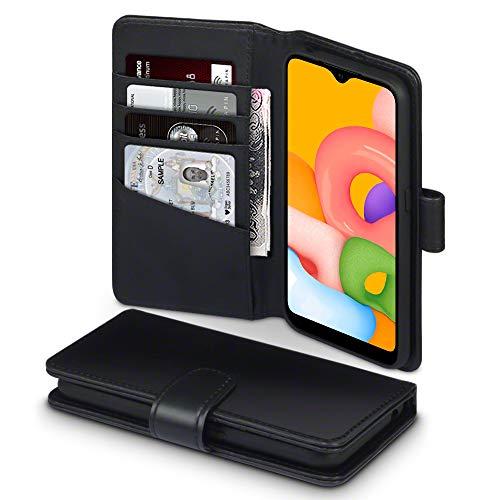 TERRAPIN, Kompatibel mit Samsung Galaxy A01 Hülle, [ECHT Leder] Brieftasche Hülle Tasche mit Standfunktion Kartenfächer & Bargeld - Schwarz