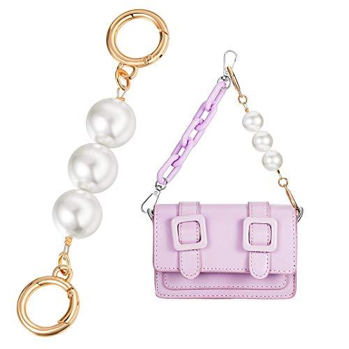 ZWWZ Correa de cadena de perlas artificiales Extensor de perlas de perlas cartera asa cinturón bolsa encanto bolso cadena de repuesto accesorios