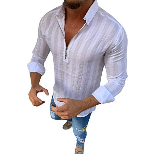 DNOQN Polo Shirt Männer Longsleeve Weiß Männer Gestreift Lange Ärmel Reißverschluss Shirts Männlich Lässig Geschäft Passen Bluse Slim Top M