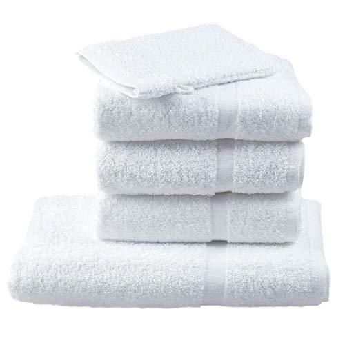 ECHOPPE Lot de 6 - Serviette de Toilette Professionnelle hébergement Foyer Blanche 100% Coton Coiffeur Infirmier esthéticienne médical