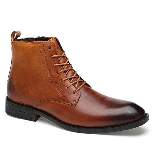GY-HCJINxdj De Cuero Real de los Hombres de la Cremallera Lateral Little Boots Casual Asuntos de Negocios (Color : Wine, Size : 38 EU)