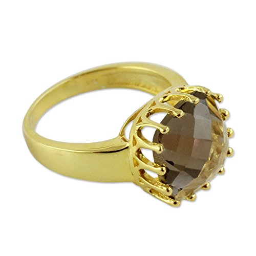 NOVICA Smoky Quartz .925 Yellow Gold Plated Silver Vermeil Ring, Spell of Endurance'