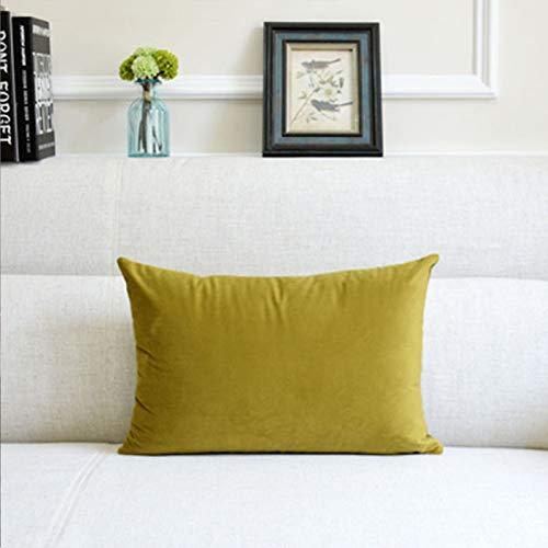 Almohada de color sólido para el hogar, sofá, almohada grande, accesorios para coche, almohada lumbar, color amarillo, 33 x 50 cm