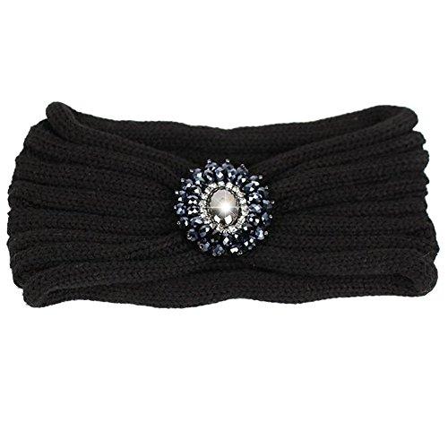 HugeStore Damen Frauen Winter Strass Crochet Strick Stirnbänder Stirnband Haarband Kopfband Ear Wärmer Schwarz
