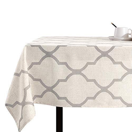 jinchan Moroccan Tile Tablecloth Linen Textured for Kitchen Geometric Trellis Printed Table Cover for Wedding Party Banquet Decoration 1 Panel 72' L Soft Grey