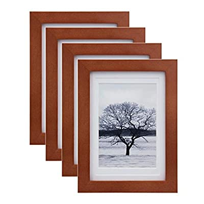 Egofine 5x7 Picture Frames 4 Pack for Picture 4x6 with Mat or 5x7 whitout Mat Made of Solid Wood with HD Plexiglass for Table Top Display and Wall Mounting Photo Frame, Reddish Brown