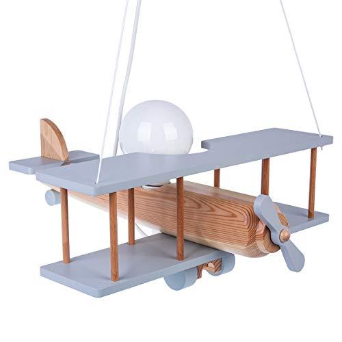 ItalPol Produkt Lampada in legno da soffitto, lampadario a sospensione Aereo 45cm x 42cm per cameretta bimbo.
