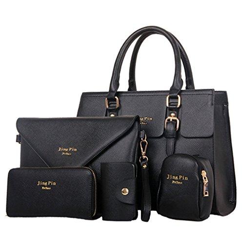 HENGSONG Damen Elegant PU Leder Handtasche Set Taschen Tote Schultertasche Umhängetasche Geldbeutel 5pcs Beutel (Schwarz)