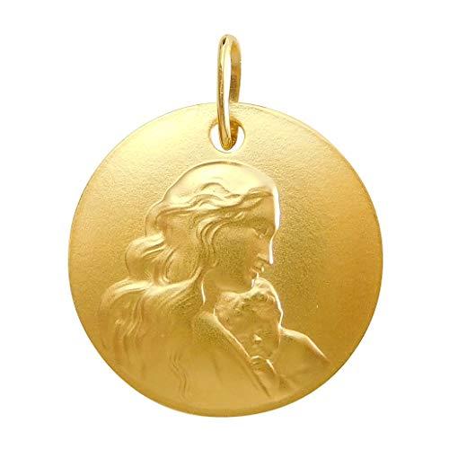 聖母子 メダイ ペンダント 18Kゴールドメッキ フランス製 聖母 マリア メダル コイン レディース