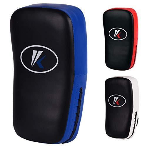 Kruzak Muay Thai Kick Pad for Training, Kicking Strike Shield for Kickboxing Martial Arts Sparring Taekwondo Muay Thai MMA Karate and Combat Sports (Sold as Single) (Black/Blue)