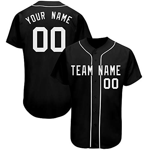 Custom Men Baseball Jersey Shirt Button Down Sports Tee Stitched Team Name and Number Black-White