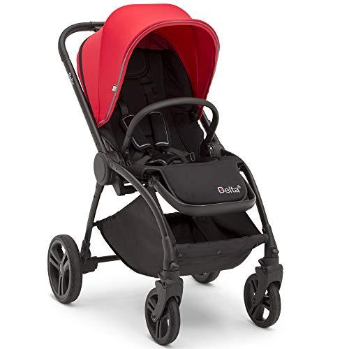 Delta Children Revolve Reversible Stroller - Lightweight Stroller Features One-Hand Fold, Adjustable Handlebar, Oversized Canopy, Recline & Shock Absorbing Frame, Red