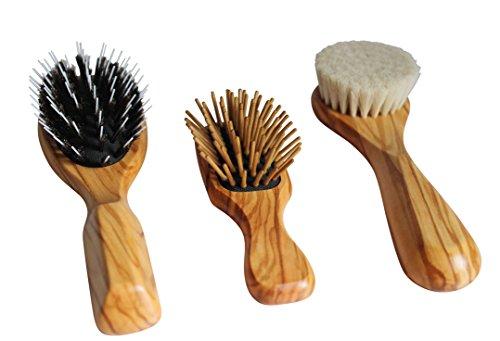 Paquet de 3 Lilywoods Brosse à cheveux de haute qualité - Sèches de sanglier + Brosse en bois + Fine Différents types de cheveux