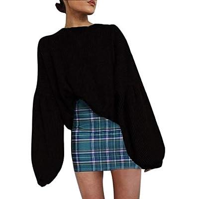 MOONHOUSE ????Women's Knitted Solid Black Blouse Long Tops Pullover Lantern Sweater Outwear Jumper Sport Coat Plus Size