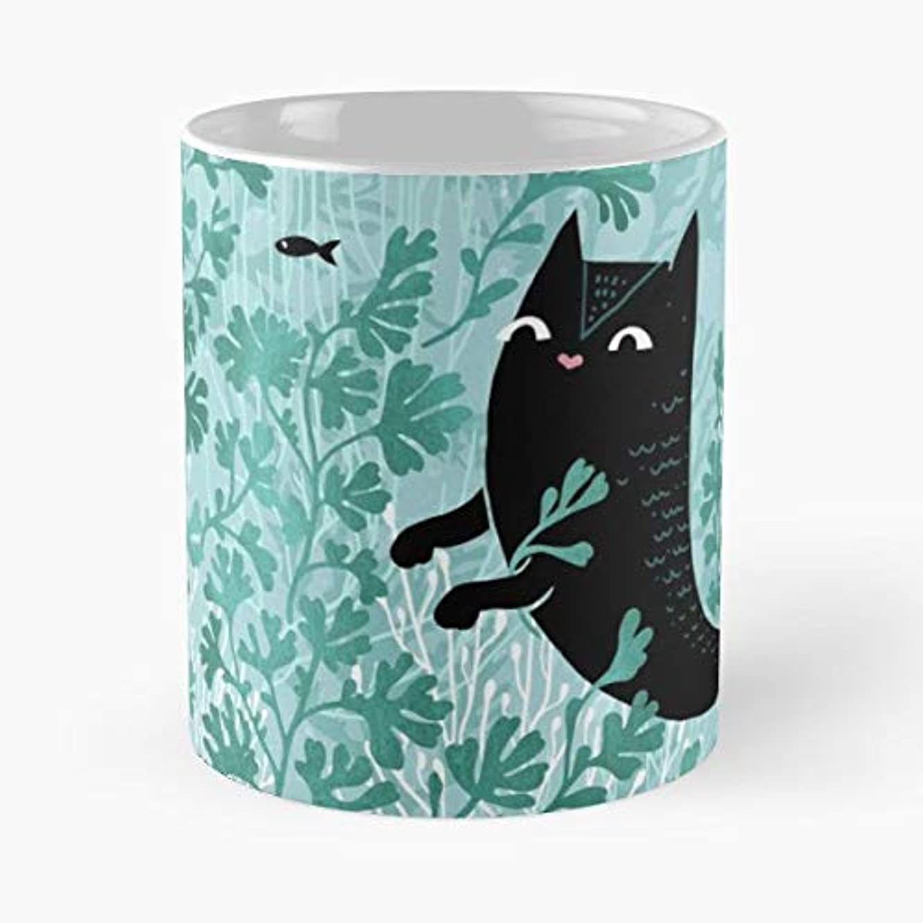 Cat Feline Mermaid Mercat - Funny Gifts For Men And Women Gift Coffee Mug Tea Cup White-11 Oz.