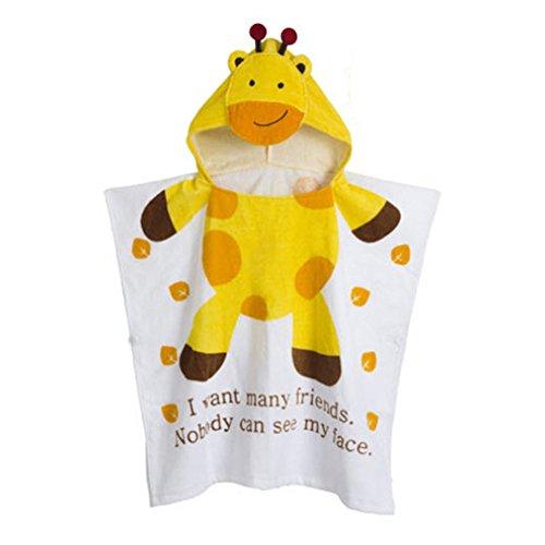 Kapuzenponcho Kinder Handtuch 100% Baumwolle Jungen Mädchen Kapuzenponchos Schwimmen mit Tiermotiv Poncho Towel Strand 0-6 Jahre Gelbe Giraffe