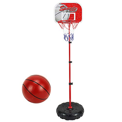 Lfhing Juego de aro de baloncesto para niños, altura ajustable, portátil, sistema de baloncesto para interiores