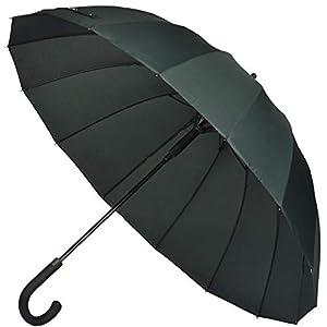 【Amazon限定ブランド】Muslish 傘 メンズ 長傘 ジャンプ傘 日傘 ワンタッチ 16本骨 テフロン加工 頑丈 グラスファイバー 梅雨対策 収納ポーチ付き 1年保証 (グリーン)