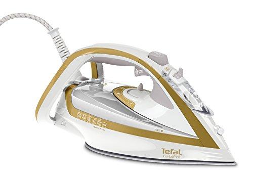 Tefal FV5625 Turbo Pro Precision - Plancha de vapor, 2600 W, 0.3 litros, Aluminio, Dorado/Blanco