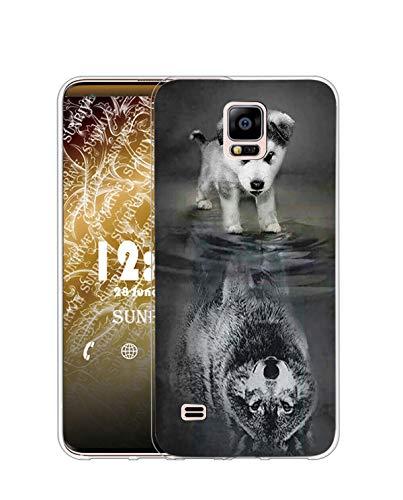 Sunrive Cover per Samsung Galaxy S5 Mini, Custodia Case in Molle Trasparente Silicone Morbida Flessibile AntiGraffio Protettiva Back custodie(TPU Cane alsaziano)