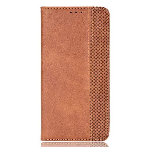 TOPOFU Funda para Samsung Galaxy A52s 5G, [Vintage de Billetera Cuero de la PU] Magnético Carcasa con Tapa Abatible y Ranuras para Dinero y Tarjeta de Crédito para Samsung Galaxy A52s 5G-Marrón