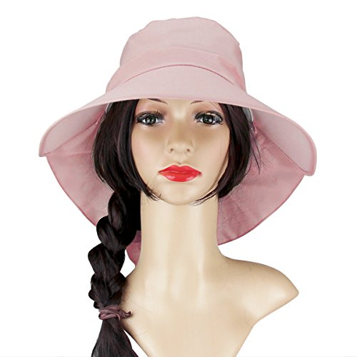 Womens Sun Hat Beach Summer Flap Cover Cap Cotton Anti-UV UPF 50+ Sun Shade Hat With Bow Wide Brim Chain Strap Adjustable Hat