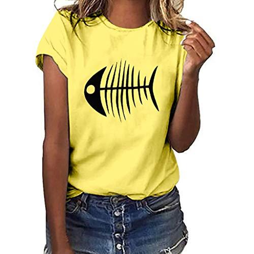 Xmiral T-Shirt Donna a Manica Corta con t-Shirt Casual a Maniche Corte Stampa a Lisca di Pesce M Giallo