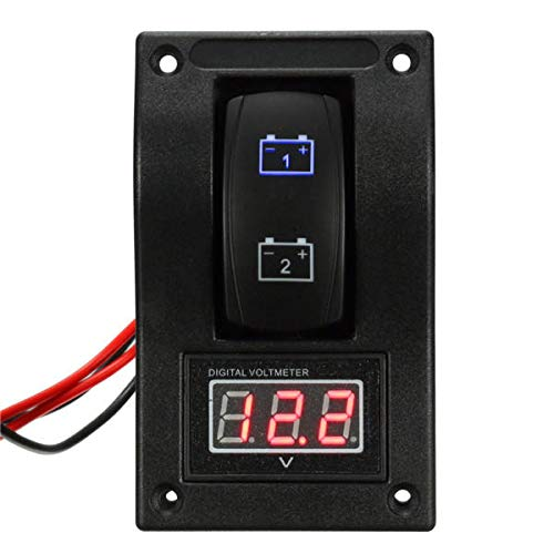 IENPAJNEPQN Interruptor 12V Marina del Barco LED Dual Prueba de batería de Rocker LED del voltímetro del Voltaje