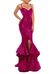 Fuchsia Sequin Prom Gown Mermaid Bodycon Dress