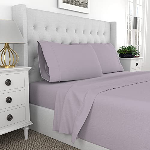Purity Home 100% Organic Cotton Percale Weave 4 Piece Lavender Queen Size Sheets Set,Brushed For Softness,Cool Crisp,GOTS Certified Bedding Set,Patented Fitted Sheet Fits Mattress Upto 18' Deep Pocket