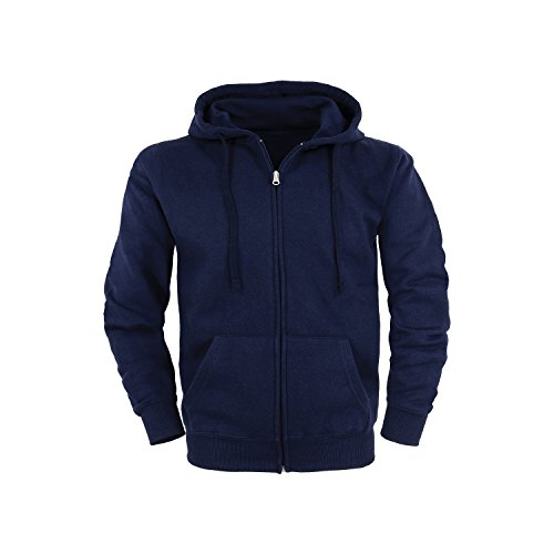 SHC Textilien Unisex Felpa con Cappuccio Cerniera Lampo Hoodie/Taglie S/Colori Blu Marino