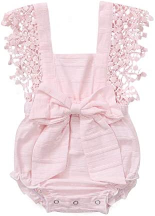 Baby Girl Romper Clothes Infant Ruffle Lace Sleeve Solid Color Bodysuit with Bowknot 6 12 Months product image