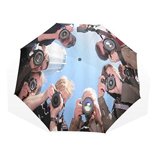 LASINSU Regenschirm,Journalist Reporter Kamera Paparazzi,Faltbar Kompakt Sonnenschirm UV Schutz Winddicht Regenschirm