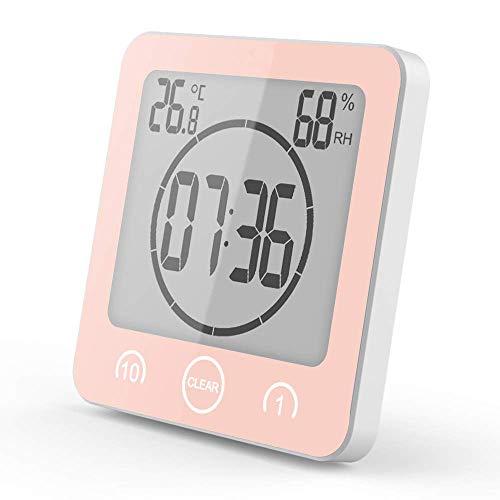 VORRINC Shower Clock Dusche Uhr Wasserdicht Badezimmeruhr Uhr mit Saugnapf LCD Display Luftfeuchtigkeit Temperatur Wanduhren,Countdown Timer (Pink)