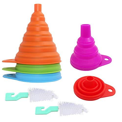 Embudo plegable de 5 paquetes, YuCool Embudo de cocina plegable de silicona con cepillo de silicona para líquidos, transferencia de polvo seco - 5 colores (3 grandes + 2 pequeños)