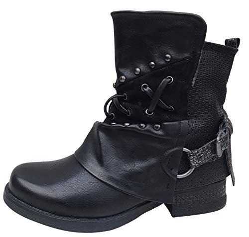 Damen Stiefeletten Biker Boots Stiefel mit Nieten Frauen Schuhe Blockabsatz Herbst Winter Bequeme Schuhe Schnallen - ST04 - Schwarz ST107 - Größe 37