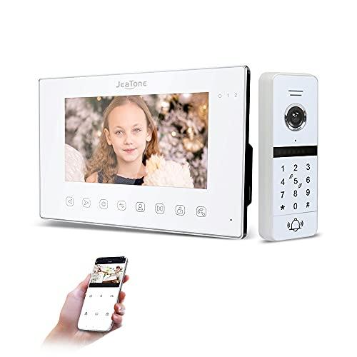 JeaTone Videoportero inalámbrico de 7 pulgadas, con cable y vídeo por infrarrojos, compatible con desbloqueo de tarjeta RFID para el control de acceso en el hogar (color blanco)